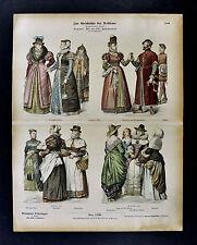 1880 Braun Costume Print 16th c English Nobel Women Fashion Dress London England