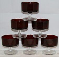 6 VINTAGE RETRO FRENCH LUMINARC RUBY RED GLASS FRUIT ICE CREAM SUNDAE DISH