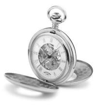 Reloj de bolsillo mecánicos rotatorios con esfera blanca pantalla analógica & Esqueleto movem