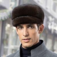 Black/Dark coffee/ Men 100% Real Genuine Mink fur Warm Winter Cap advance hat