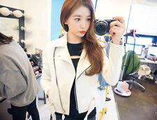 S~ 3XL Korean Women's PU Leather Slim Fit Jacket Ladies Motorcycle Coat Outwear