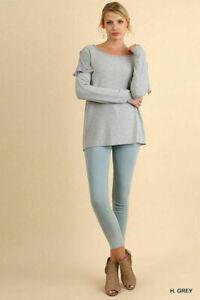 M UMGEE HEATHER GREY Ruffle Shoulder Knit Tunic/Top/Blouse/Shirt BHCS
