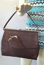 Vintage Loewe Brown Suede Handbag With Matching Mirror & Change Purse