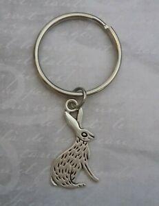 Tibetan Silver Rabbit Keyring/Bag Charm.  Bunny Hare Easter Gift Present.