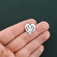 BULK 50 Heart Charms Antique Silver Tone Lovely Swirl Detail SC3453