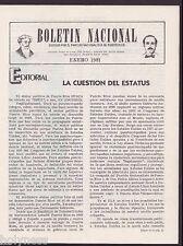 BOLETIN NACIONAL / PARTIDO NACIONALISTA DE PUERTO RICO / NEWSLETTER / JAN 1981