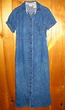 Bobbie Brooks Indigo Blue Denim Maxi Dress Womens Size Small 4/6 Collar Jumper