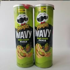 Pringles Limited Edition Wavy Deep Fried Pickle Pringles 4.8 oz Cans Lot of 2
