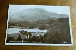 F175 LOCH ACHRAY & BEN VENUE From Above The TROSSACHS HOTEL Postcard c1939