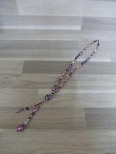 Mooie moderne ketting met glas parels in paarse en rose tinten - 50 cm + staart