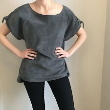 *Mary Portas* Size 18 Grey Leather/suede Top With Buckles