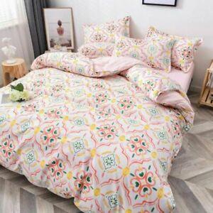 Bedding Set Flower Duvet Cover Pastoral Style Peaches Home Linen Flat Sheet