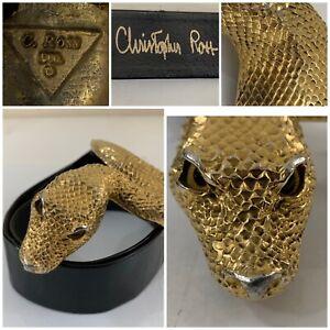 Christopher Ross 1980 Gold Snake w/ Glass Eyes Black Leather Belt- VGC