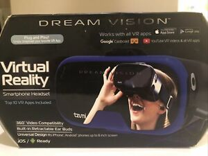 VR Headset for iPhone & Android Smartphones Tzumi Brand New Never Used With Case