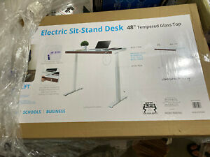 """SEVILLE CLASSICS AIRLIFT 48"""" WOOD FRONT TEMPERED GLASS ELECTRIC SIT-STAND DESK"""