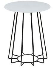 pkline Table basse Boîte en verre blanc/noir Table d'appoint Table de salon