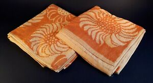 Pair Unused Vintage 1970s Cotton Guest Towels. Yellow/ Orange Flowers. Home Gift