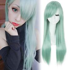 Los siete pecados capitales Elizabeth Peluca Cosplay pelucas para Mujer Larga Recta Verde