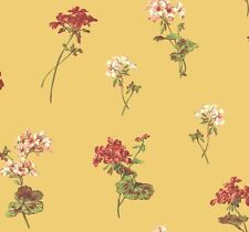 Wallpaper Designer Red Pink Cream and Green Floral Toss on Gold Yellow