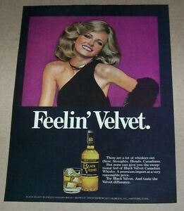 1977 print ad page - Black Velvet Canadian Whisky sexy CHERYL TIEGS advertising