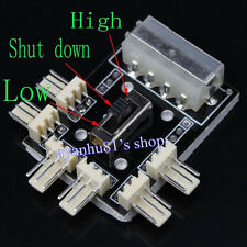 D Type Molex 4-Pin Male to 6x 3Pin Male Fan HUB Splitter Speed Regulator+3M Tape