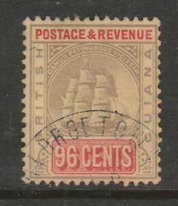 British Guiana 1905-07 96c Black & vermilion/ yellow SG 250 Fine used.
