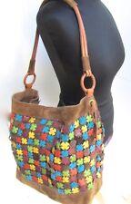 Lucky Brand Suede Patchwork Boho Leather Bucket Hobo Bag Fringe Tassles LG