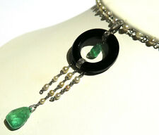 DECO STYLE NECKLACE WITH PEARL, BLACK ONYX, DIAMOND AND EMERALD
