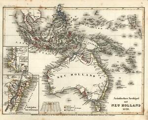 Australia New Holland Van Diemen Land Indonesia NSW 1849 Meyer scarce Tooley map