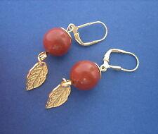 Roter Jaspis Ohrschmuck Ohrhänger Ohrringe Klappbrisur 925er Silber vergoldet