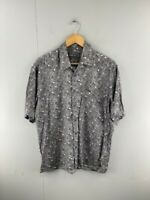 David Taylor Mens Grey Geometric Vintage Short Sleeve Button Up Shirt Sz Medium