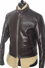 STANDOUT ARMANI JEANS BROWN ANTIQUE LEATHER JACKET WITH FUR LINING UK 38R SMALL
