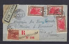 1936 Madagascar Scott 166(x3) & 174 on registered cover Manakambahiny to Paris
