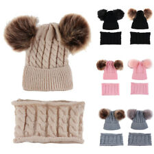 2pcs Baby Hat Scarf Knitted Winter Warm Suit Boy Girl Beanie Pom Pom Bonnet Cap