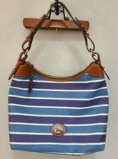 Dooney & Bourke Large Erica Hobo Blue/Navy/White Striped Shoulder Bag
