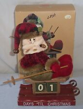 Wood & Cloth Days Til Christmas Advent Calendar Snow Sledding Santa Claus Blocks