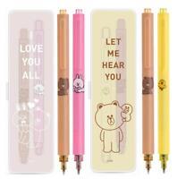 Line Friends Brown Bear Cony Rabbit Sally Black Gel Ink Pen Kugelschreiber 2PCS