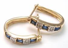 BESTJEWELLERY 10KT YELLOW GOLD SQUARE SAPPHIRE & DIAMOND HOOP EARRINGS   E928
