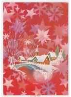 Acabado Brillante Navidad Tarjeta Postal Baby Vintage País Puente Río Estrellas