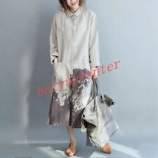 Ladies Long Sleeve Cotton Linen Loose Fit  Shirt Chinese Casual Long Dress New 8