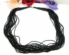 "MULTI STRAND 20 Black Glass Seed Beads Vintage NECKLACE Gorgeous! 24"" Length"
