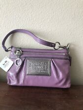 Coach Poppy Jazzy Patent Leather Wristlet- Silver/ Grape Ice