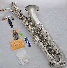 Professional Taishan Silver Baritone Eb Sax Low A key 2 necks Germany mouthpiece