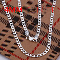 HOT sale!2 pcs 925 Sterling Silver 4mm chain Men's Necklace 18 to 30 Inch