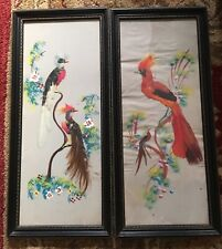 Vintage Pair Mexican Feathercraft Hand-Painted Feather Bird Folk Art Huge FRAMED