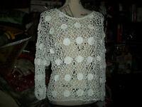 KROSHETTA Sweet Porcelain White Crochet Blouse Size S