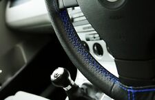 LAND ROVER FREELANDER 97-05 BLACK PERFORATED LEATHER STEERING WHEEL COVER BLUE