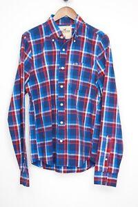 NEW Hollister Plaid Shirt M Blue Red Plaid Check Button Down Collar Long Sleeve
