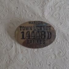 Vintage 1935 Marion Ma license badge 14448 D