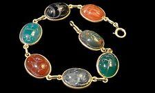 1930's 14K Stone Scarab Bracelet